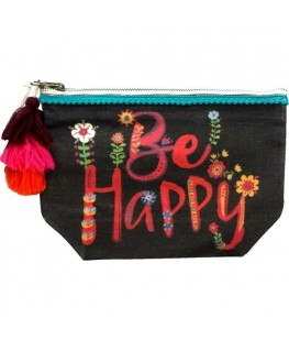 """BE HAPPY"" CANVAS POUCH - UNC"