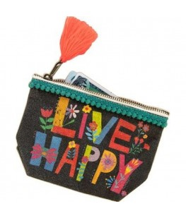 """LIVE HAPPY"" CANVAS POUCH -..."