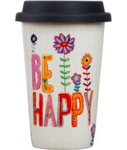 """BE HAPPY"" THERMAL MUG - UNIC"