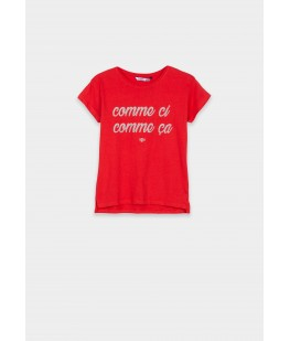 EMBOSSED TEXT T-SHIRT -...